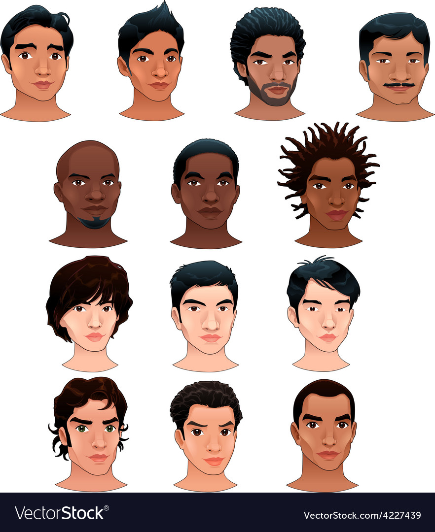 Indian black asian and latino men vector | Price: 3 Credit (USD $3)