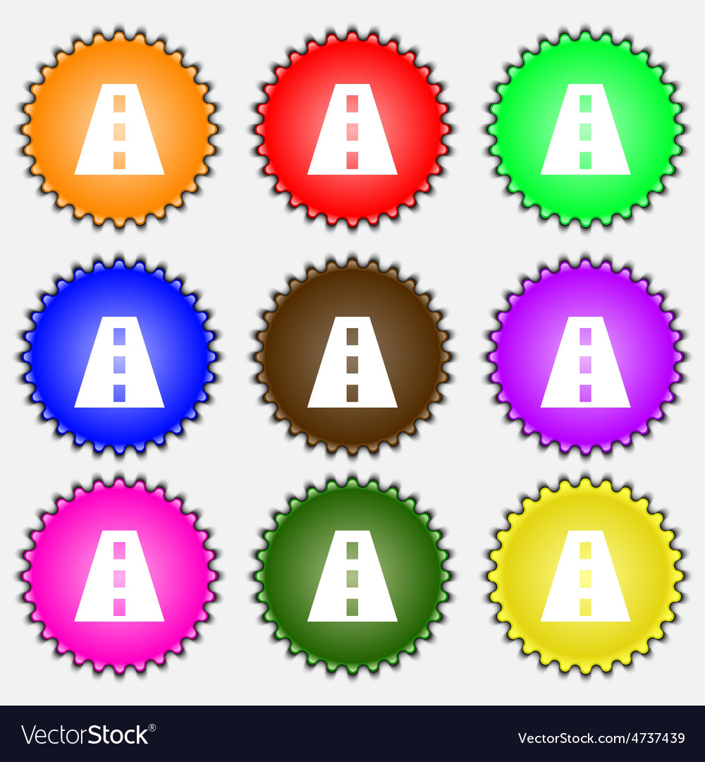 Road icon sign a set of nine different colored vector   Price: 1 Credit (USD $1)