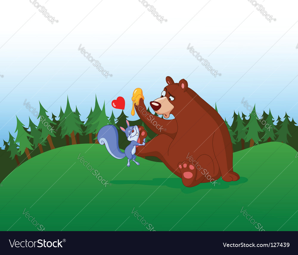 Squirrel and bear vector | Price: 1 Credit (USD $1)