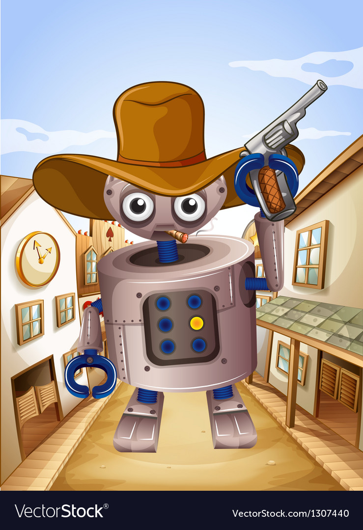 A robot wearing a hat and holding a gun vector | Price: 1 Credit (USD $1)