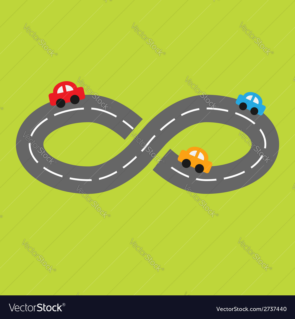 Background with road infinity sign and cartoon car vector | Price: 1 Credit (USD $1)