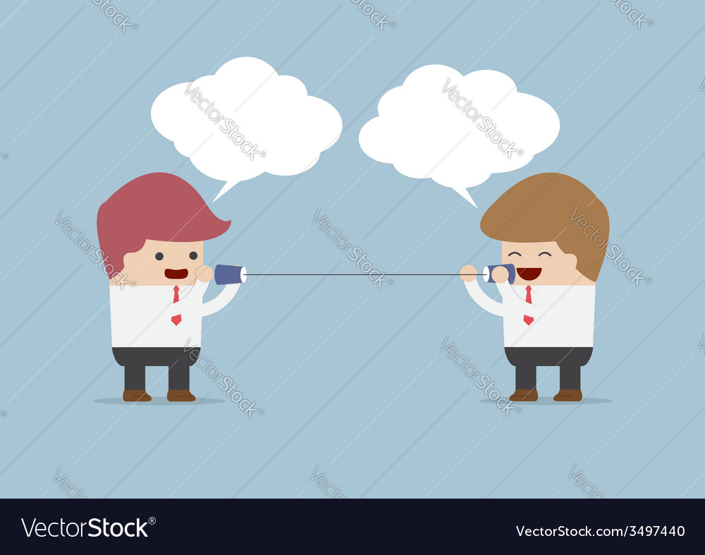 Businessmen talking on can phone vector | Price: 1 Credit (USD $1)