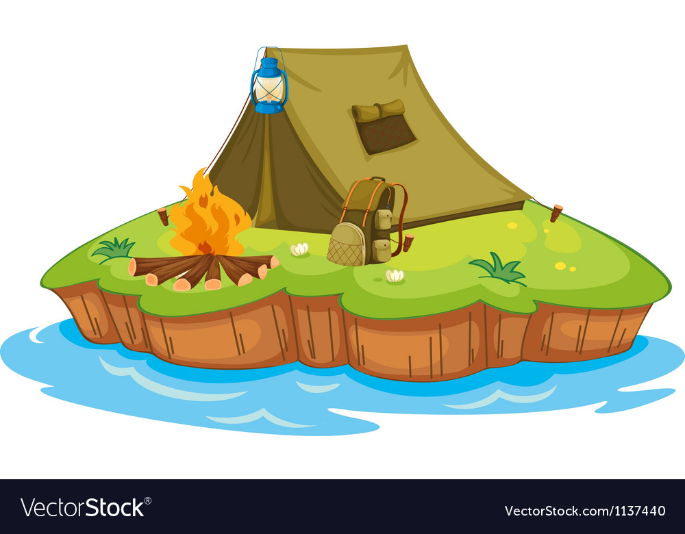 Camping on an island vector | Price: 1 Credit (USD $1)