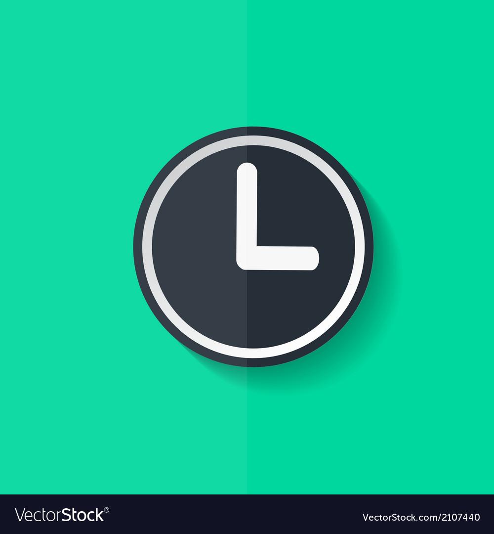 Clock web icon button time symbol flat design vector | Price: 1 Credit (USD $1)