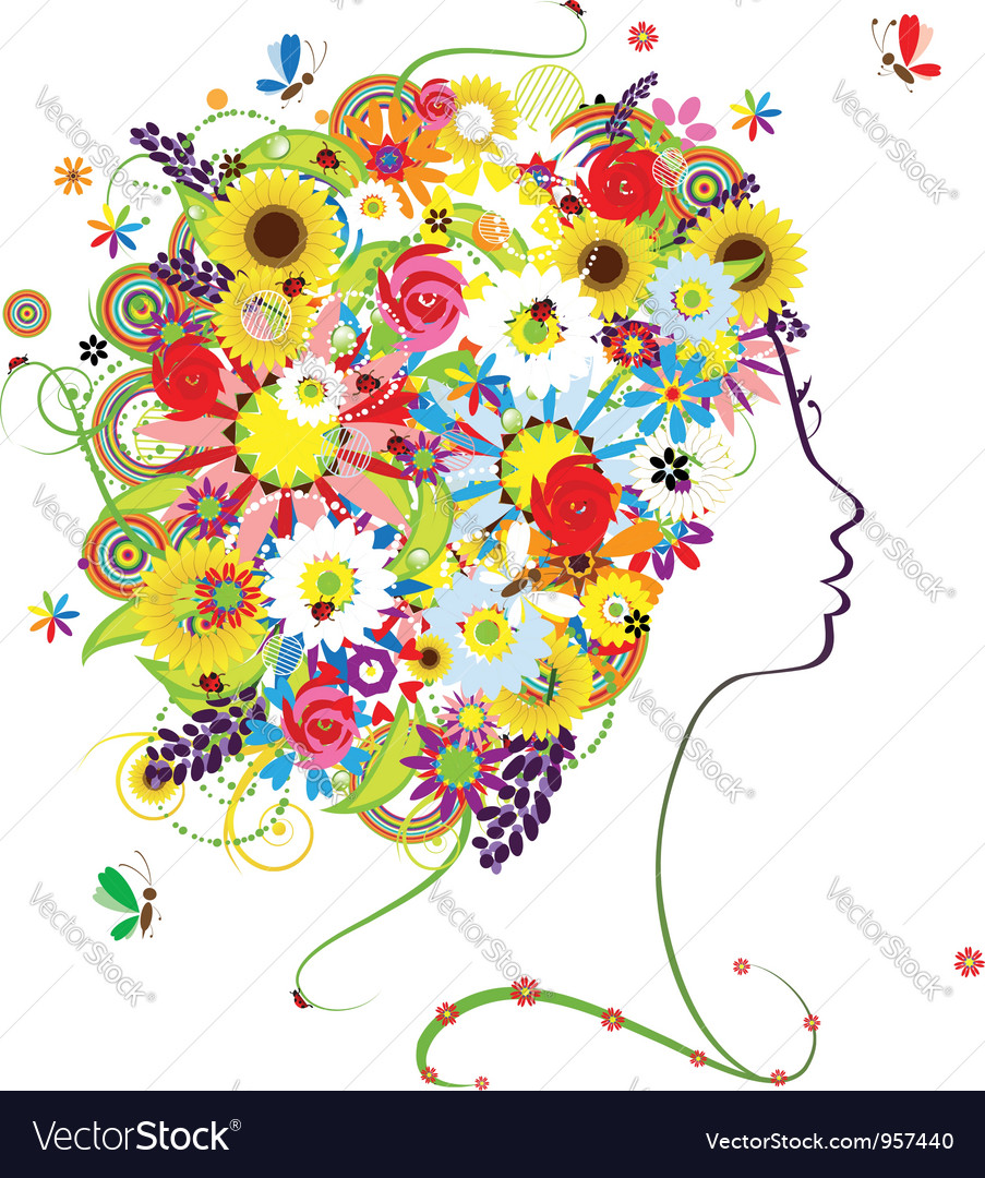 Female profile floral hairstyle for your design vector | Price: 1 Credit (USD $1)