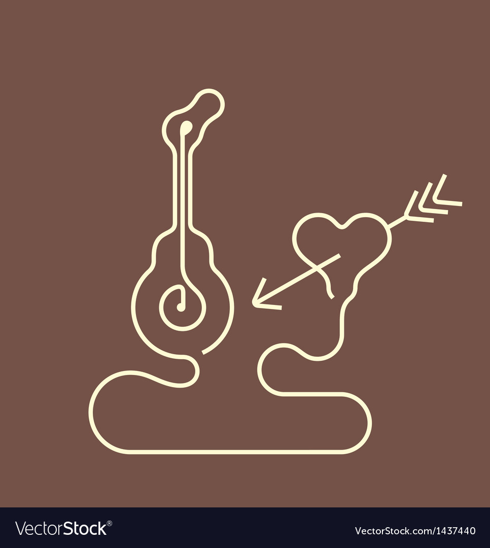 Guitar and heart vector | Price: 1 Credit (USD $1)
