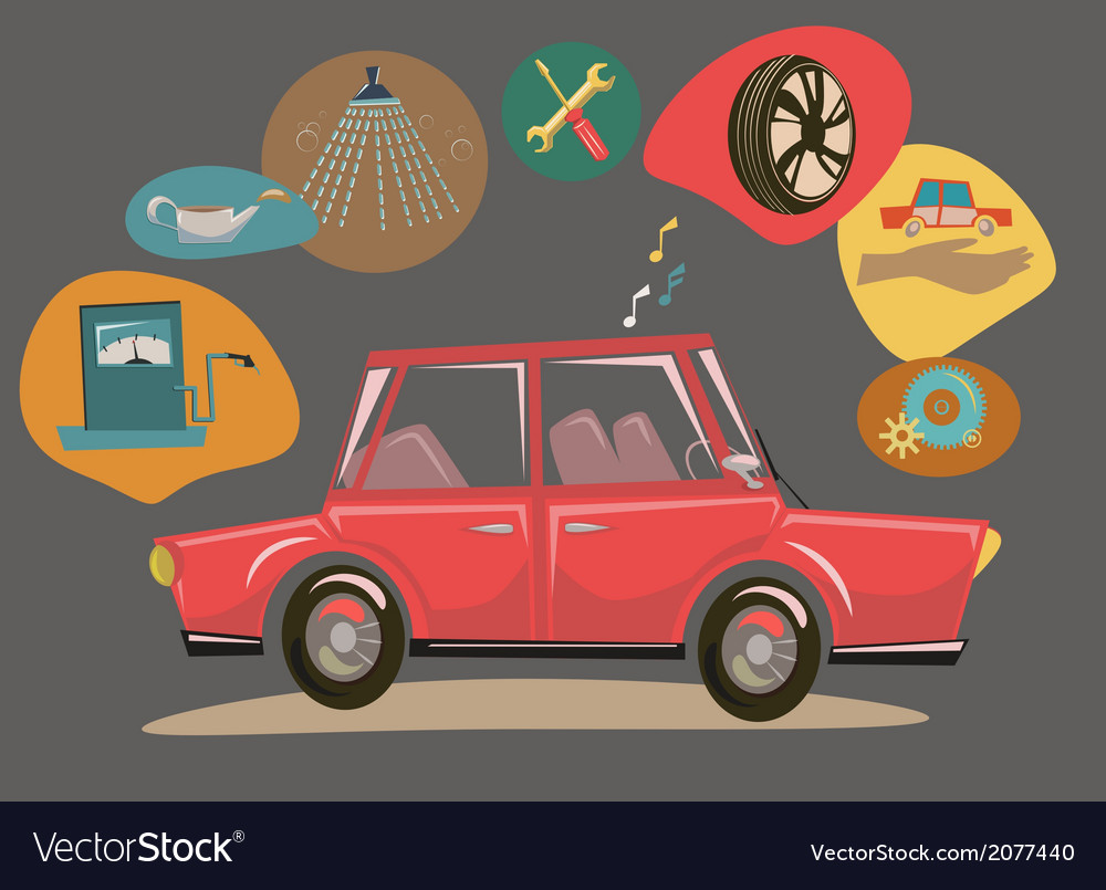 Retro cartoon car vector | Price: 1 Credit (USD $1)