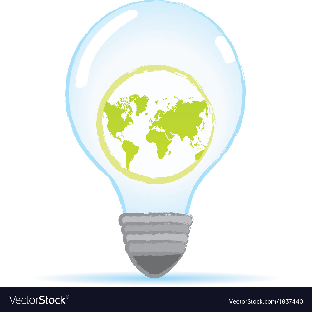 Save world bulb vector | Price: 1 Credit (USD $1)