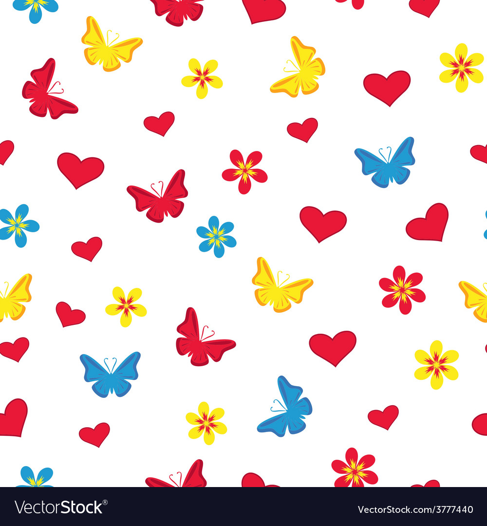 Seamless pattern with hearts butterflies and vector | Price: 1 Credit (USD $1)