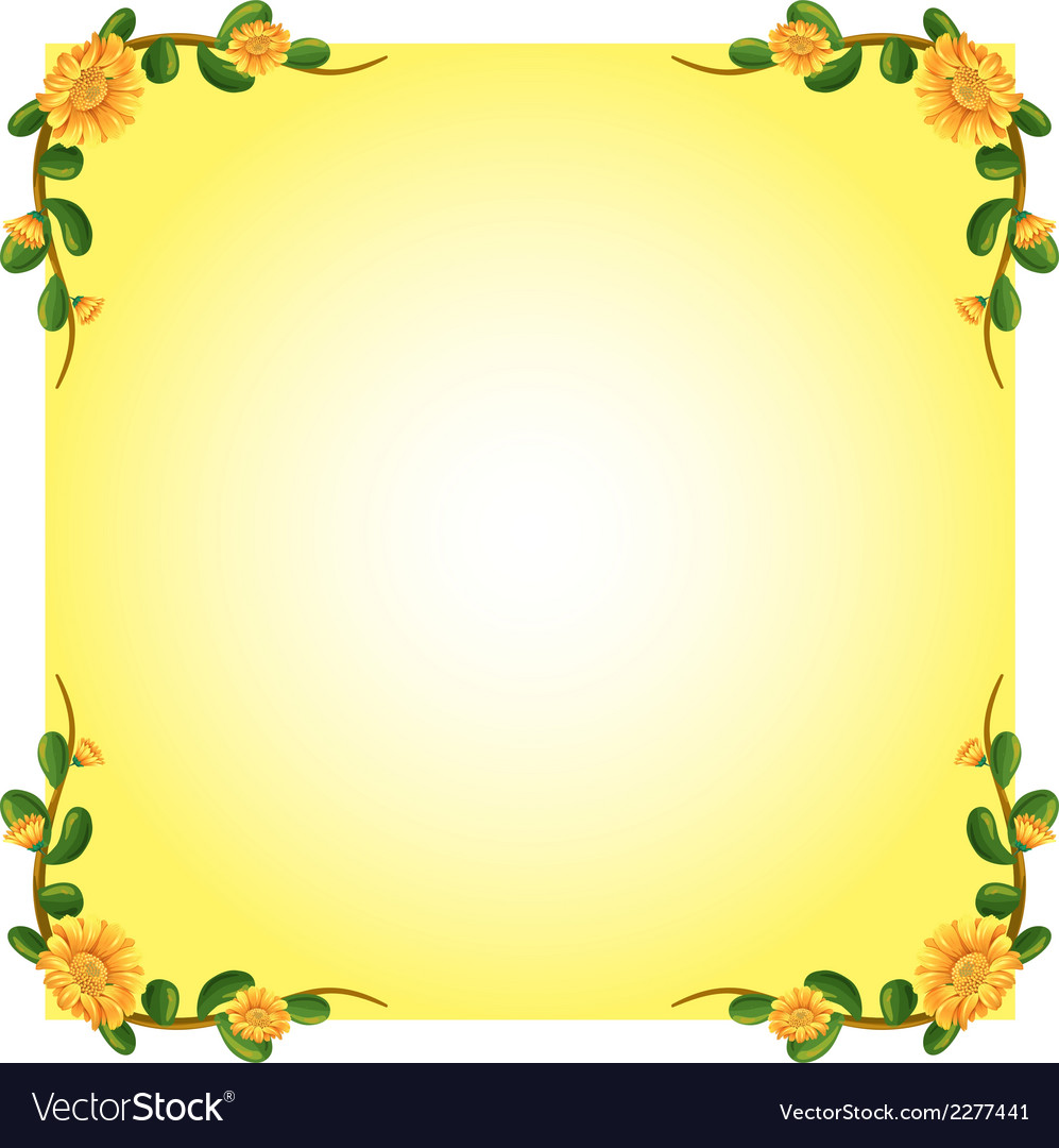 An empty template with a flowering plant border vector | Price: 1 Credit (USD $1)