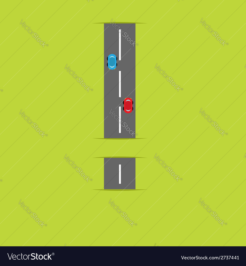 Background with road in shape of exclamation mark vector | Price: 1 Credit (USD $1)