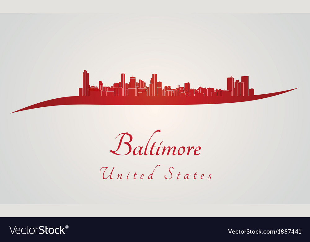 Baltimore skyline in red vector | Price: 1 Credit (USD $1)