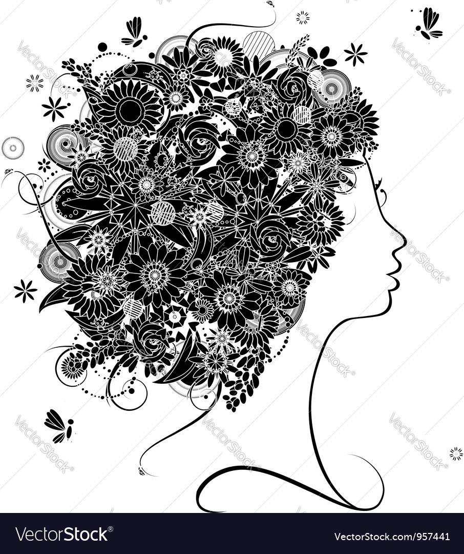 Female profile silhouette floral hairstyle vector | Price: 1 Credit (USD $1)