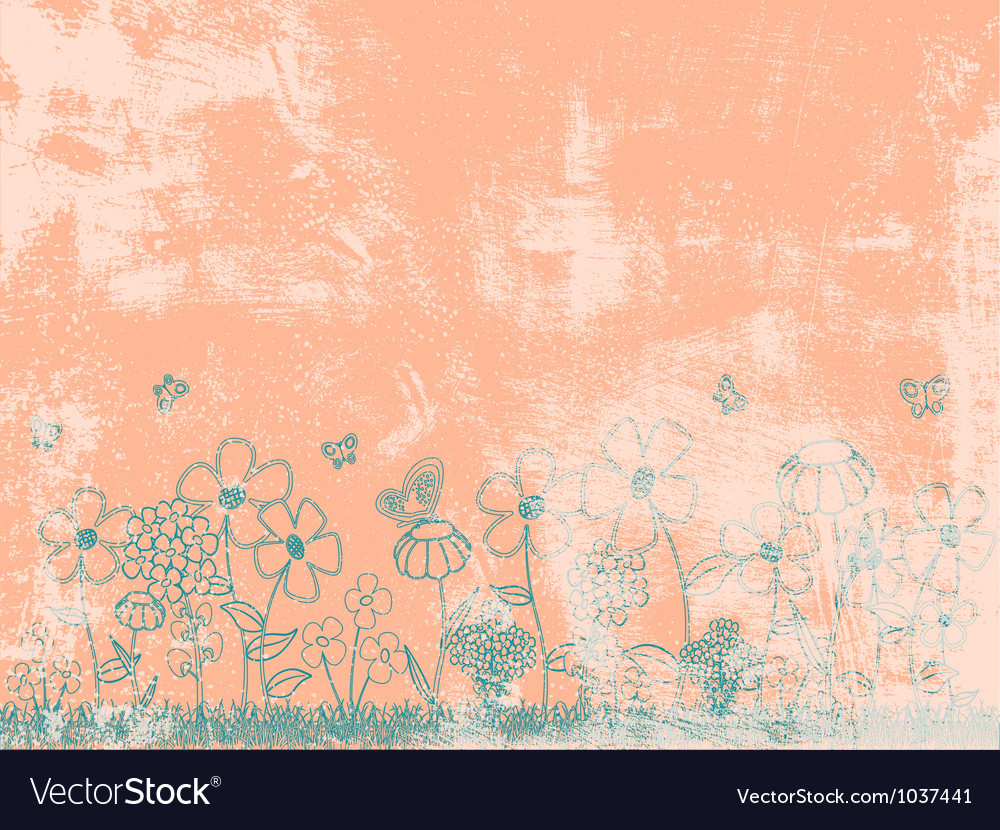 Grunge peach floral background vector | Price: 1 Credit (USD $1)