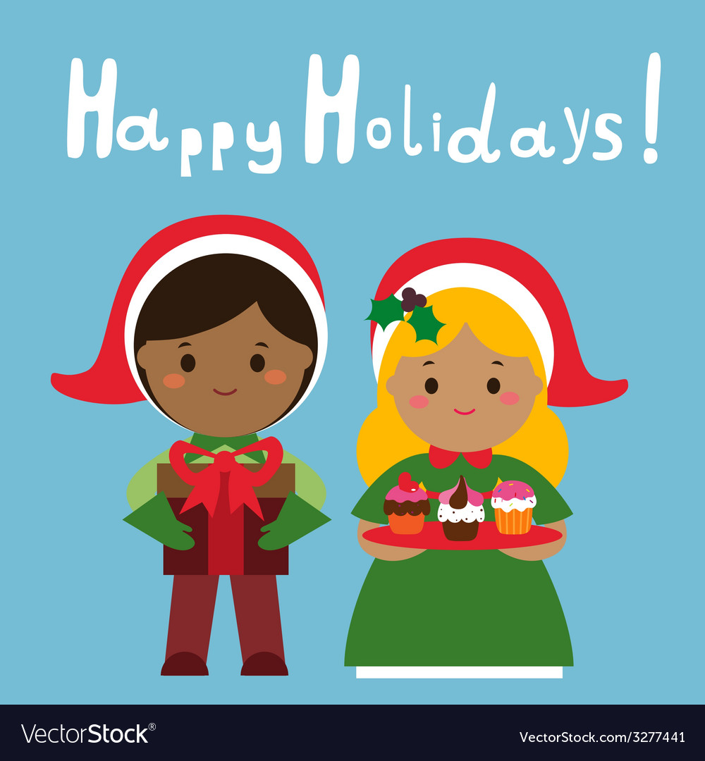 Happy holidays design with cute couple vector | Price: 1 Credit (USD $1)