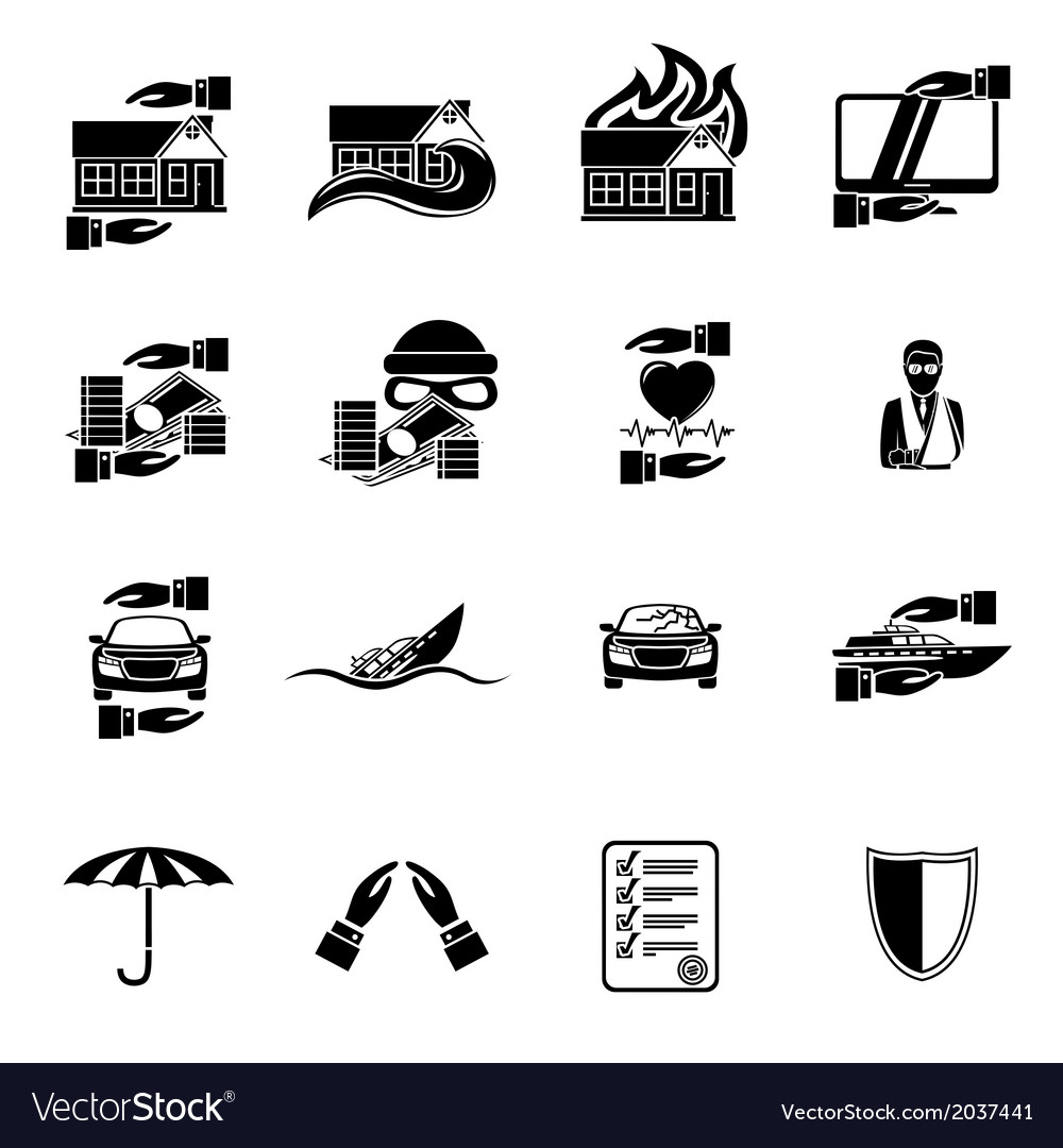 Insurance security icons set vector | Price: 1 Credit (USD $1)