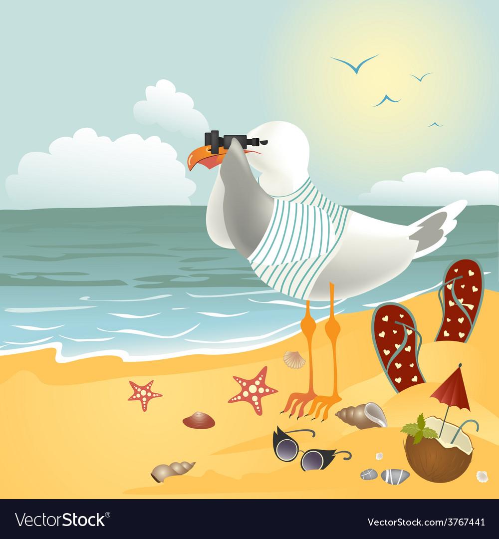Seagull on the beach looking through binoculars vector   Price: 1 Credit (USD $1)