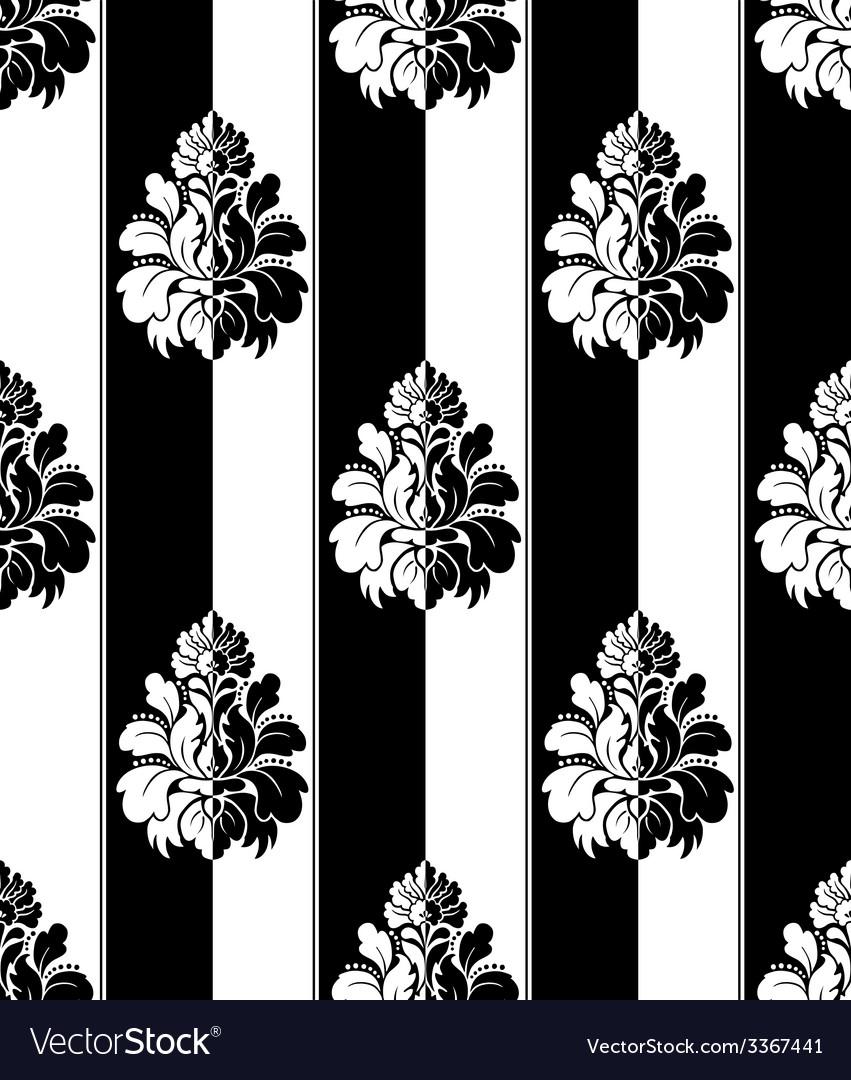 Seamless monochrome damask vintage pattern striped vector | Price: 1 Credit (USD $1)