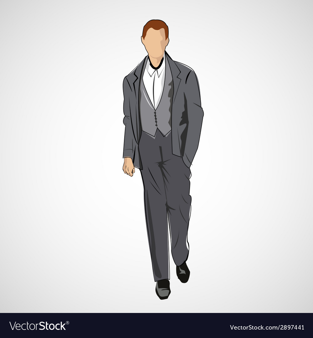 Sketch man in fashion clothes eps vector | Price: 1 Credit (USD $1)