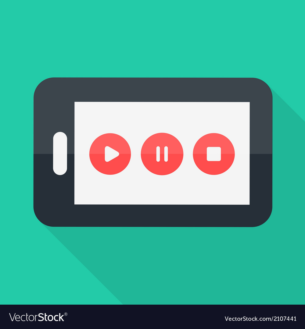 Smartphone flat design playstoppause icon vector | Price: 1 Credit (USD $1)