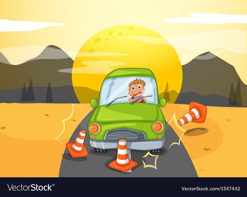 A green car bumping the traffic cones vector | Price: 1 Credit (USD $1)