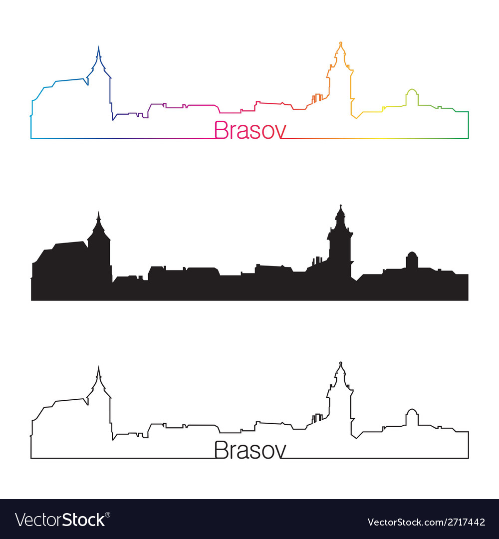 Brasov skyline linear style with rainbow vector | Price: 1 Credit (USD $1)