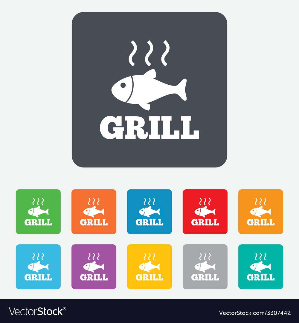 Fish grill hot icon cook or fry fish symbol vector | Price: 1 Credit (USD $1)