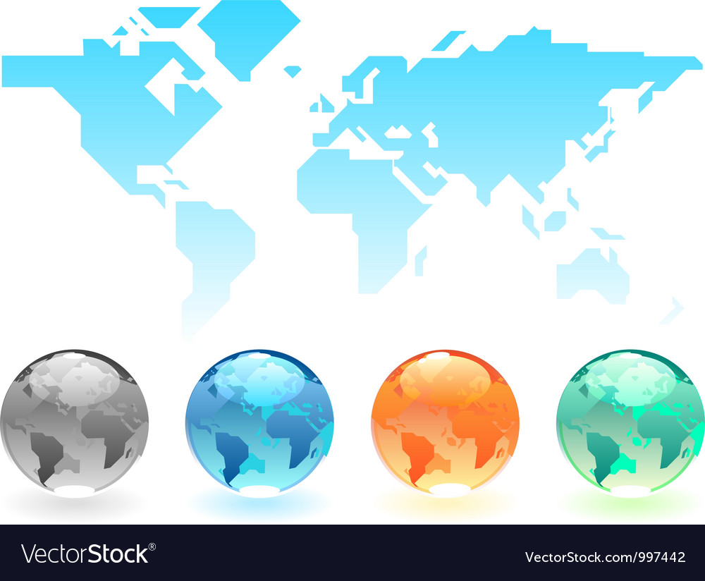 Geometric world map and globes vector   Price: 1 Credit (USD $1)