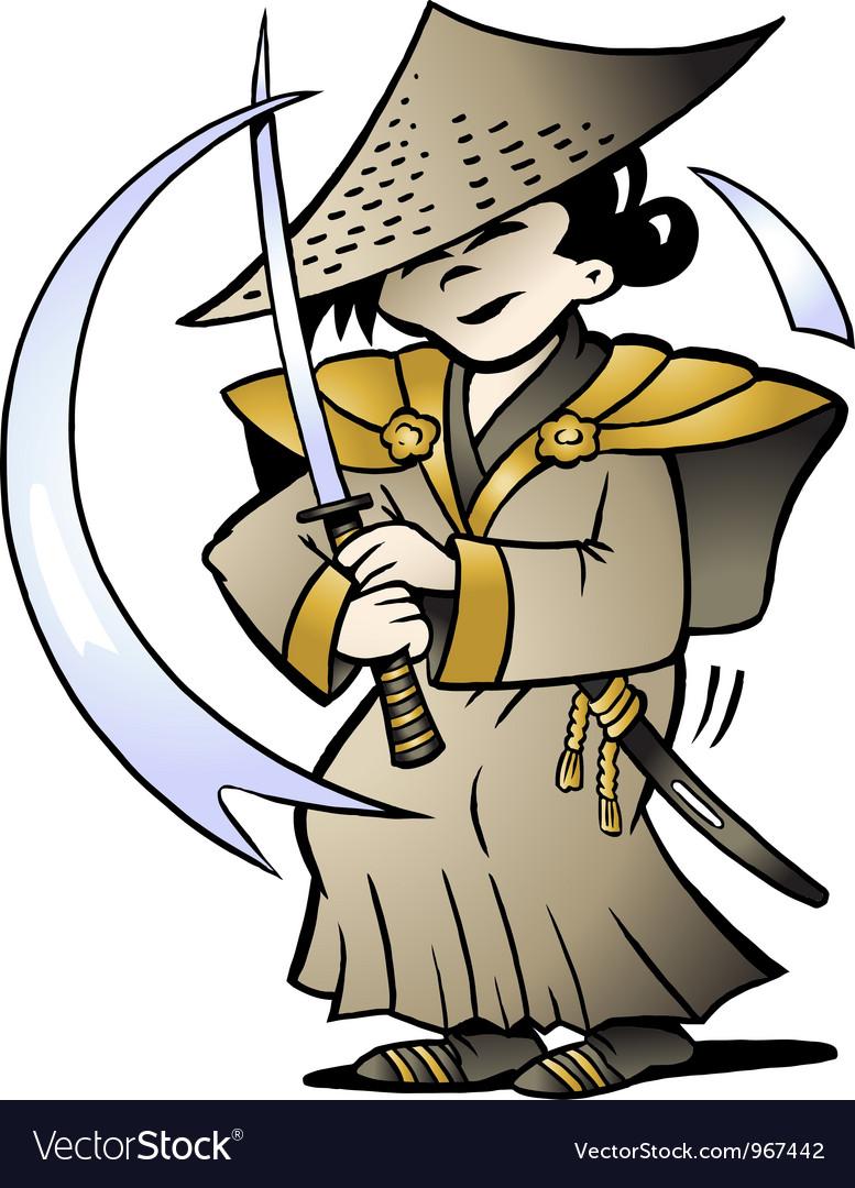 Hand-drawn of an japanese samurai vector   Price: 1 Credit (USD $1)