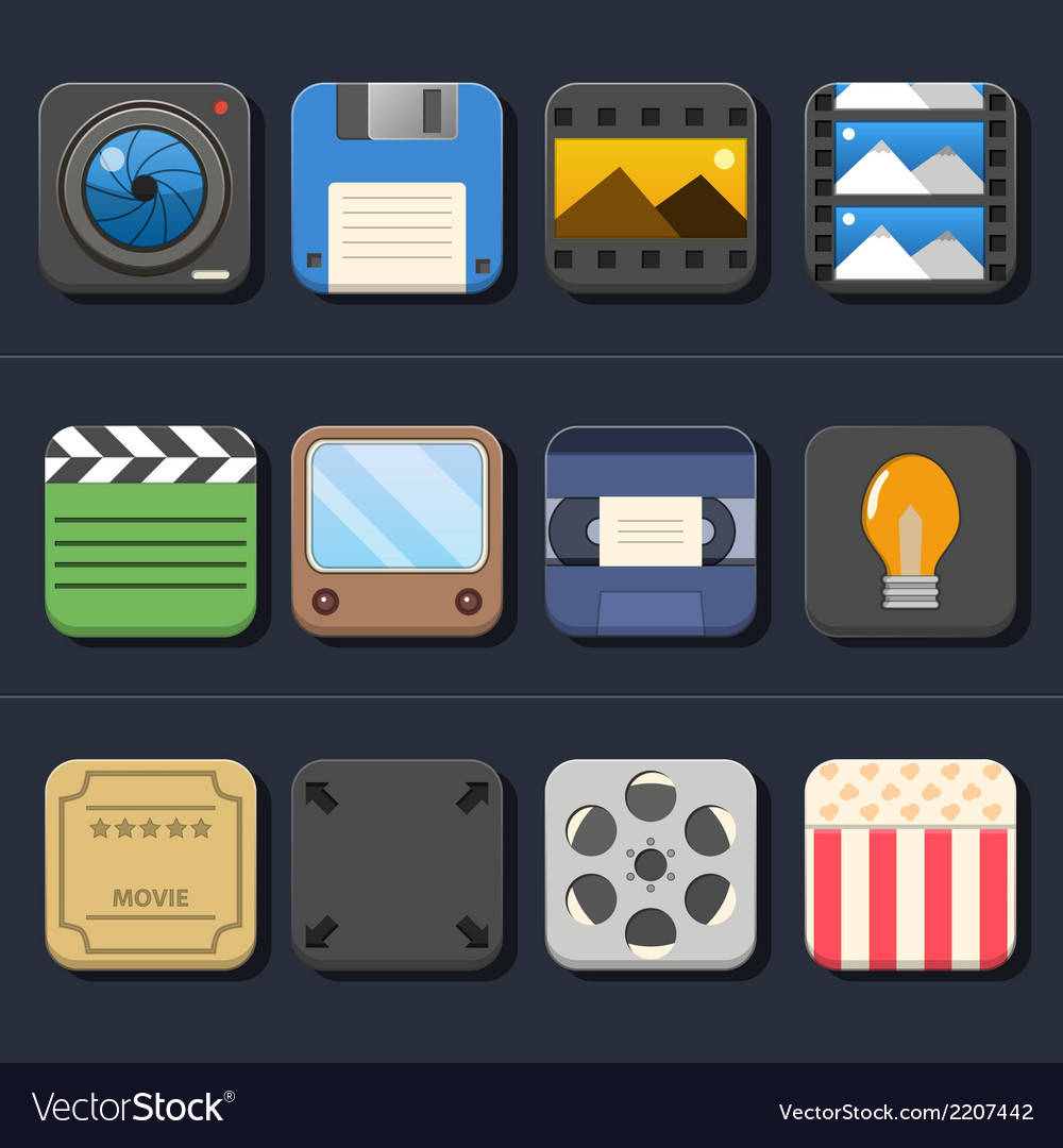 High quality video movie icon set vector | Price: 1 Credit (USD $1)