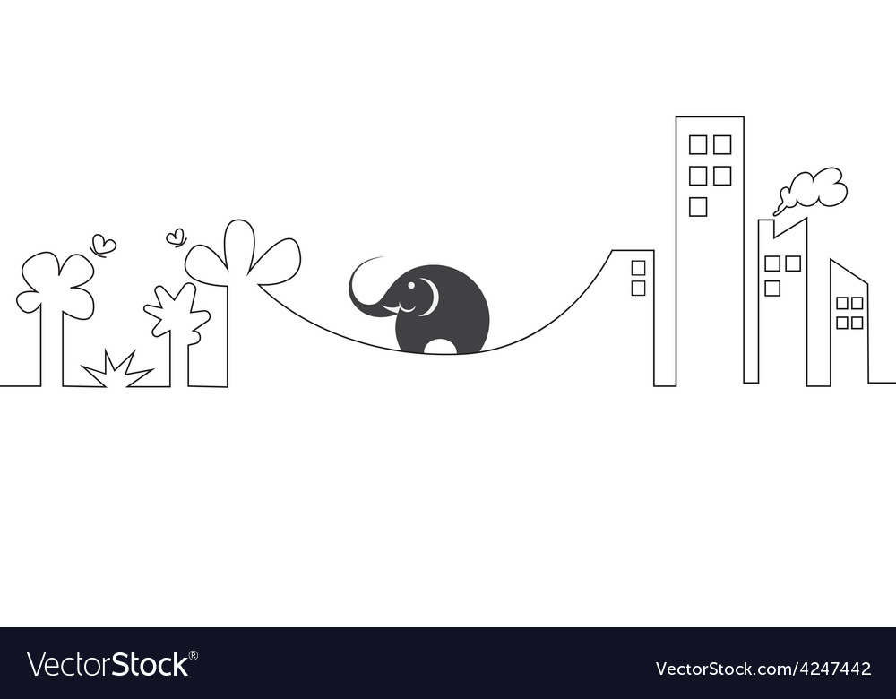 Images of elephants on a rope vector | Price: 1 Credit (USD $1)