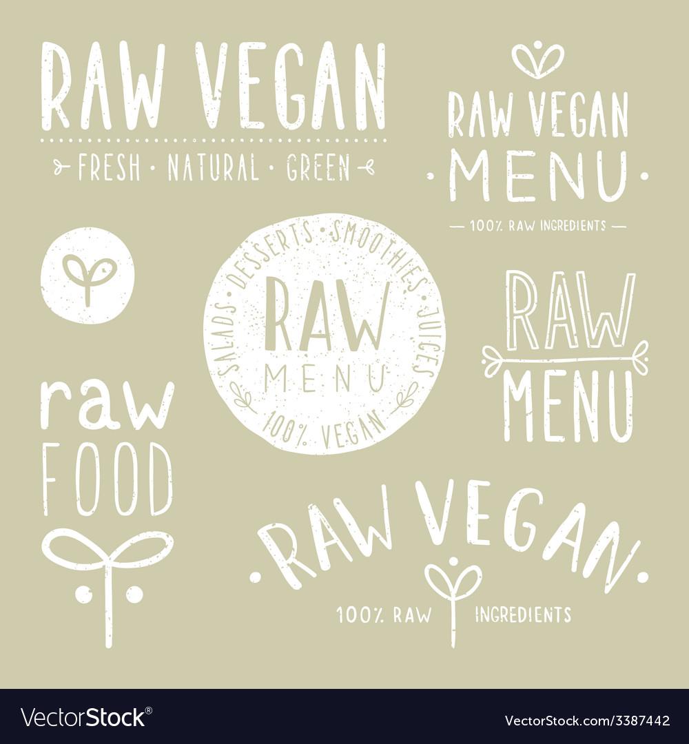 Old textured raw vegan badges vector | Price: 1 Credit (USD $1)