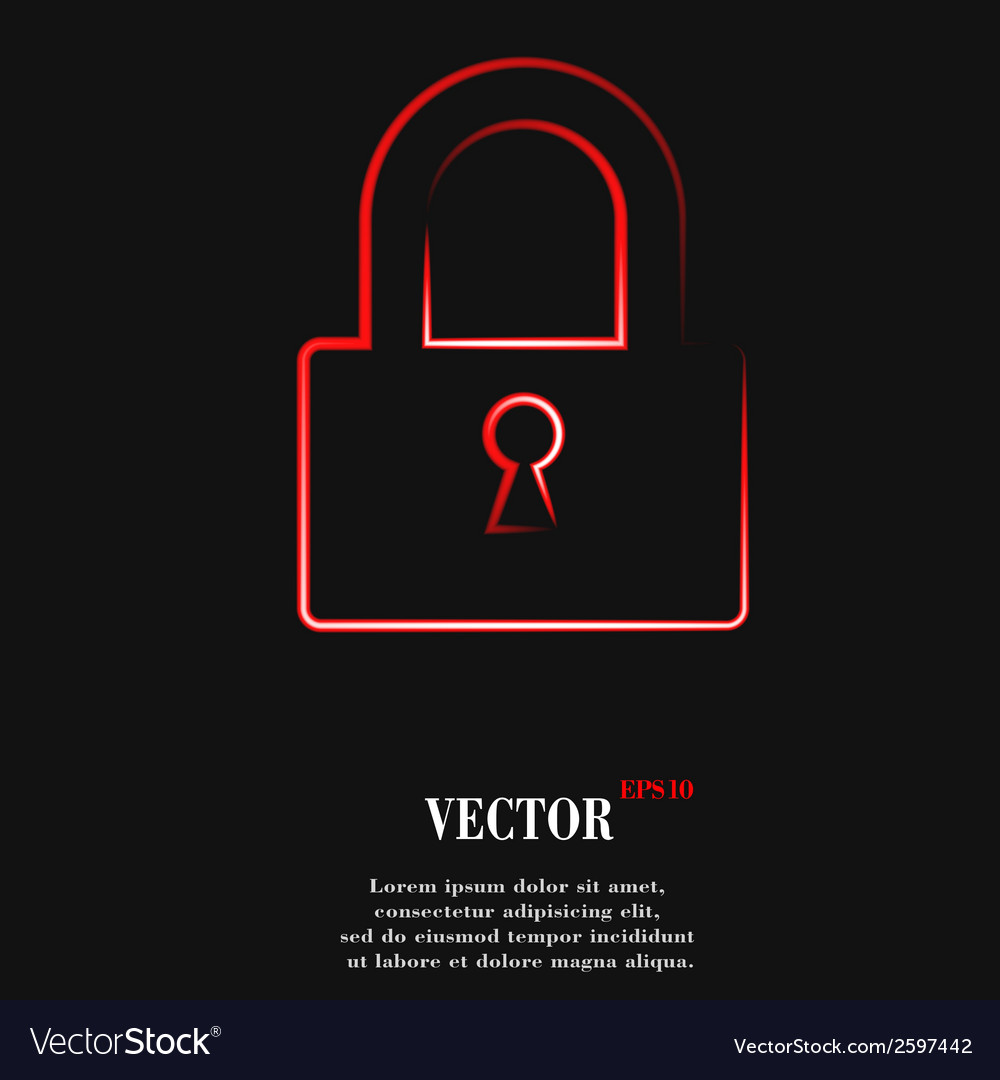 Padlock flat modern web button and space for your vector | Price: 1 Credit (USD $1)