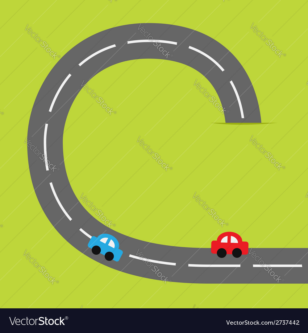 Paper grasss and road cartoon cars vector | Price: 1 Credit (USD $1)