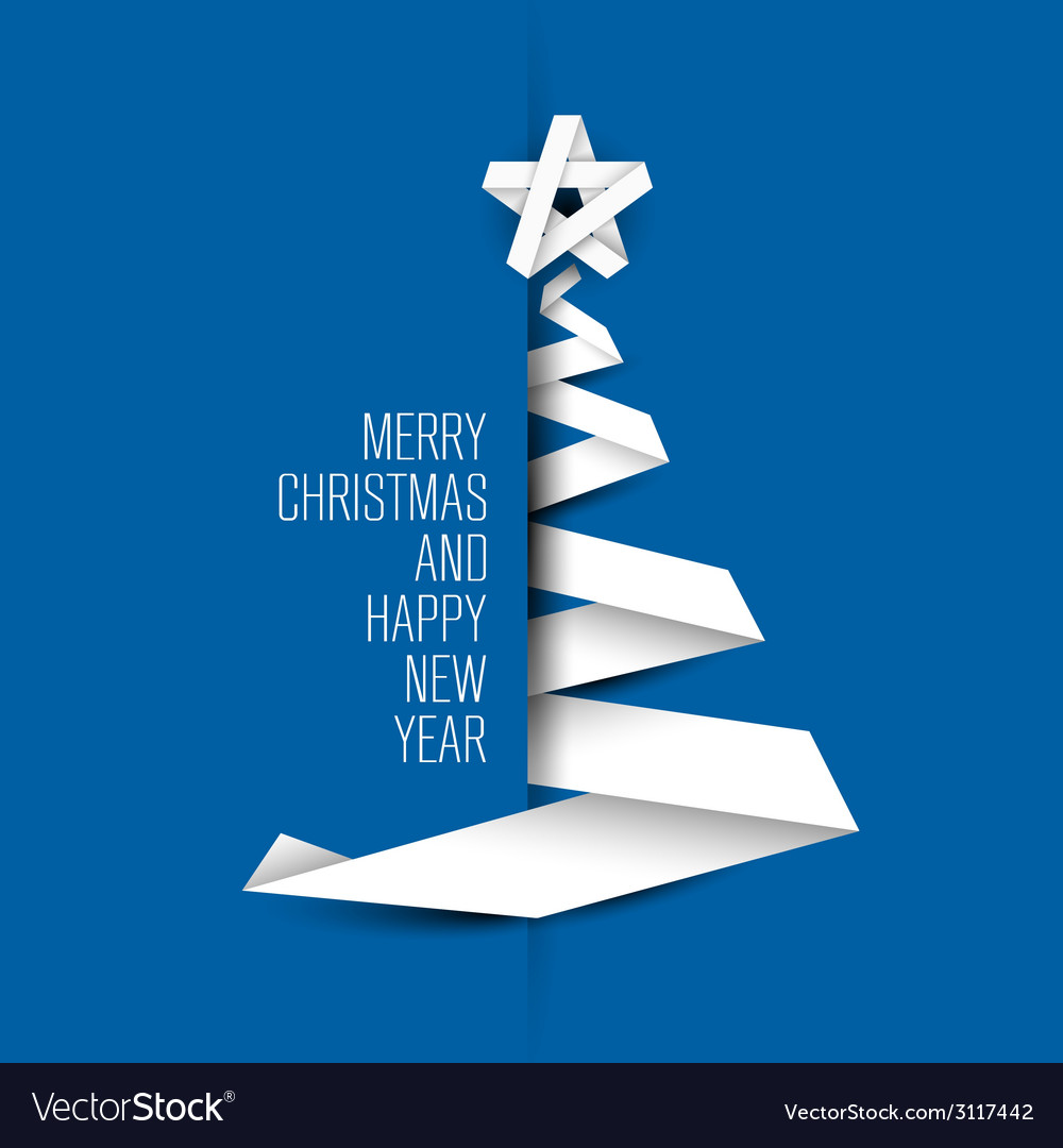 Simple blue card with christmas tree made from vector | Price: 1 Credit (USD $1)