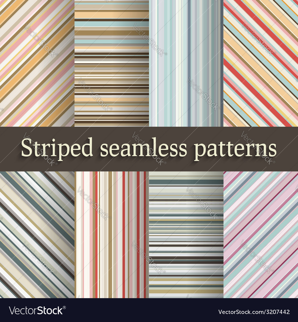 Striped seamless patterns set in retro colors vector | Price: 1 Credit (USD $1)