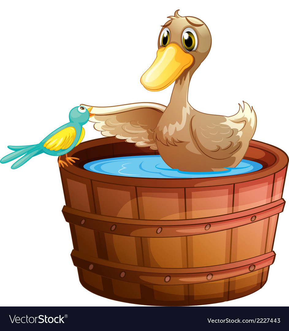 A duck and a bird at the bathtub with water vector | Price: 1 Credit (USD $1)