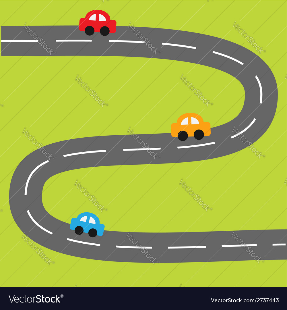 Background with zigzag road and cartoon cars vector | Price: 1 Credit (USD $1)
