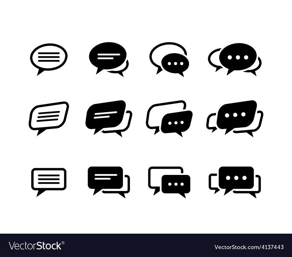 Black and line speech bubble icons vector | Price: 1 Credit (USD $1)