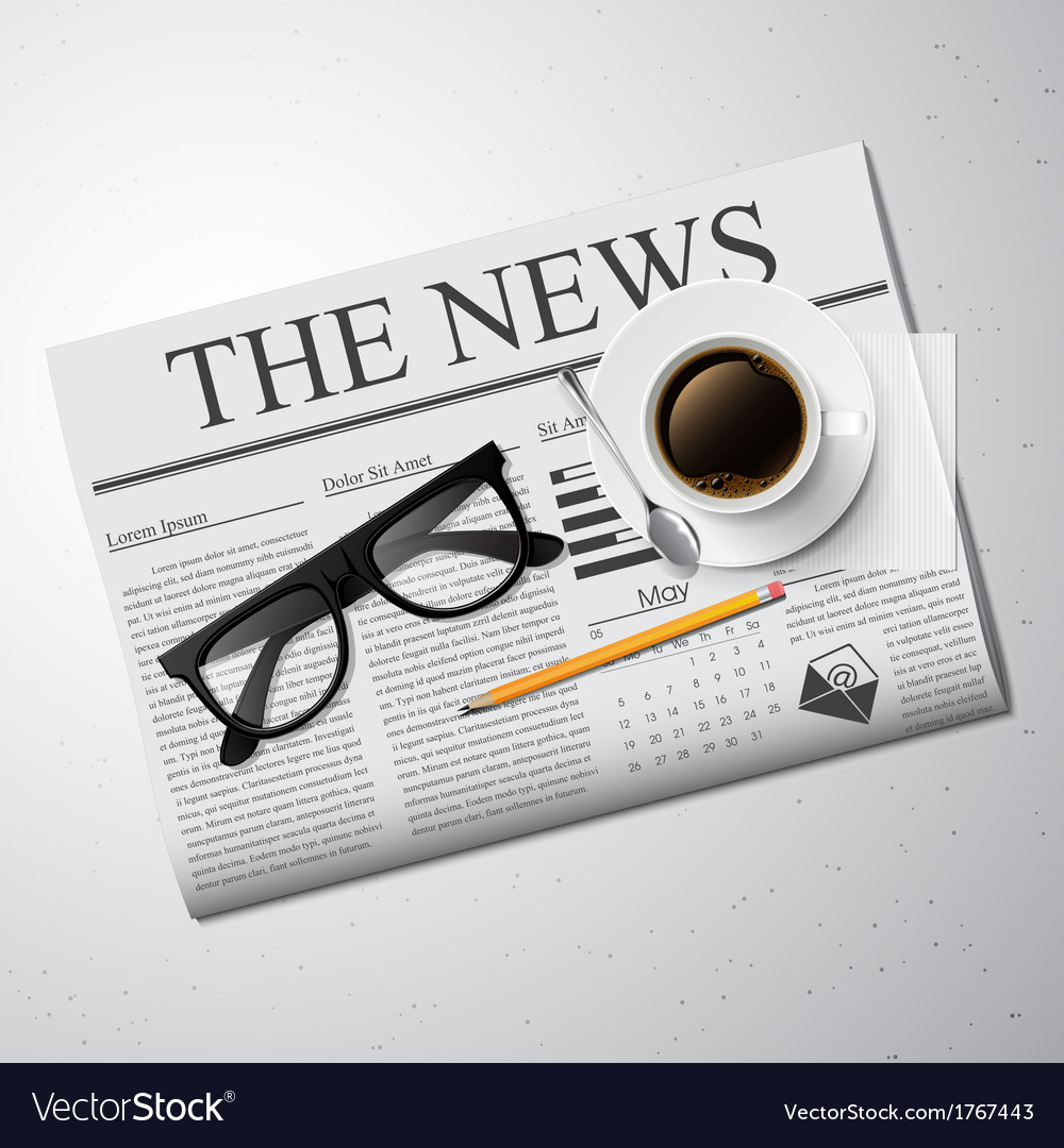Cup of coffee newspaper and glasses vector | Price: 1 Credit (USD $1)