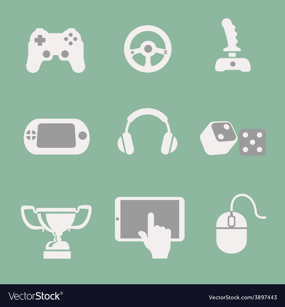 Game icons set white background vector | Price: 1 Credit (USD $1)