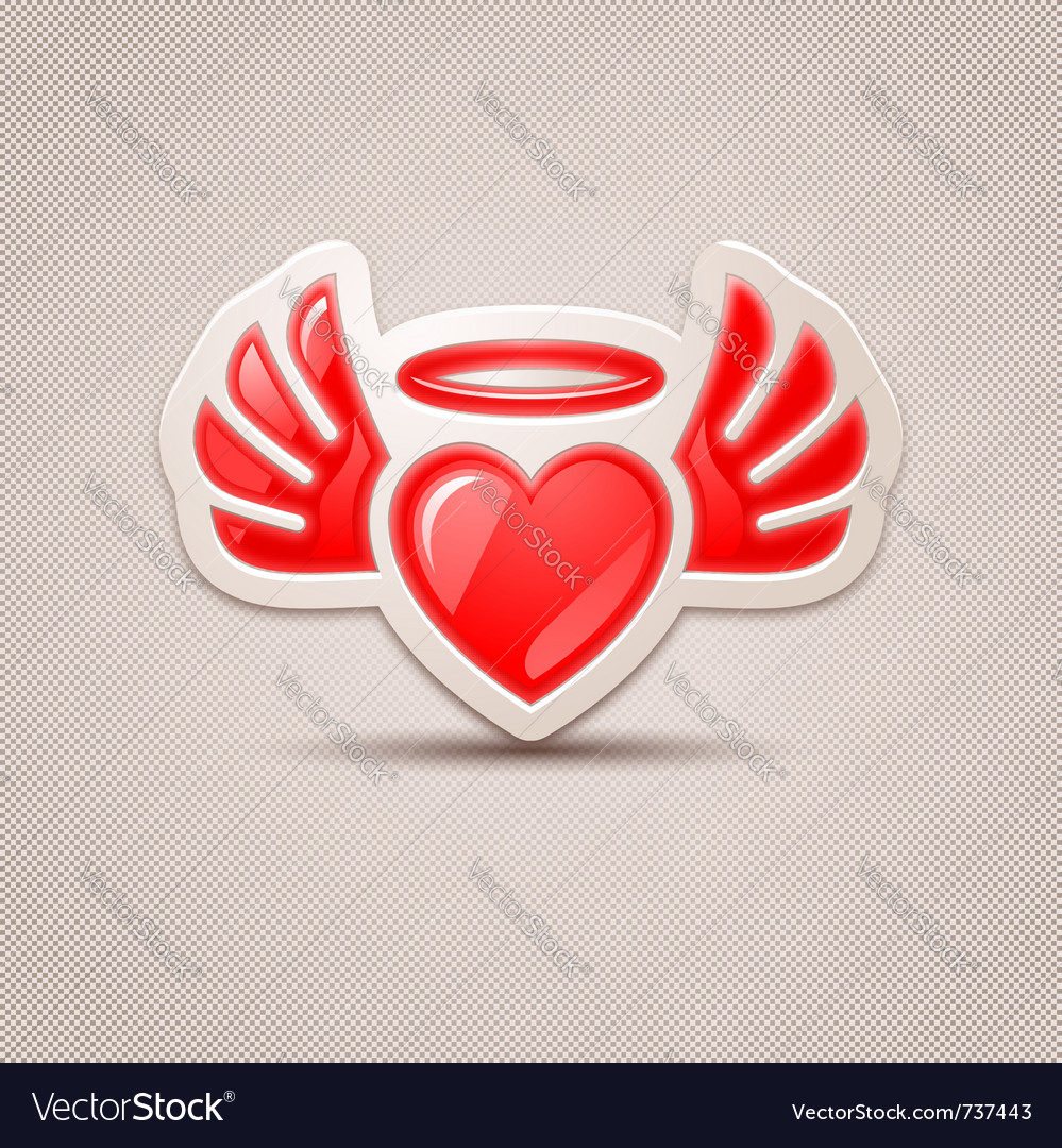 Heart with wings the icon for your design vector | Price: 1 Credit (USD $1)