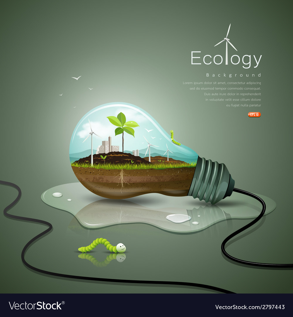Light bulb ecology concept design background vector | Price: 3 Credit (USD $3)