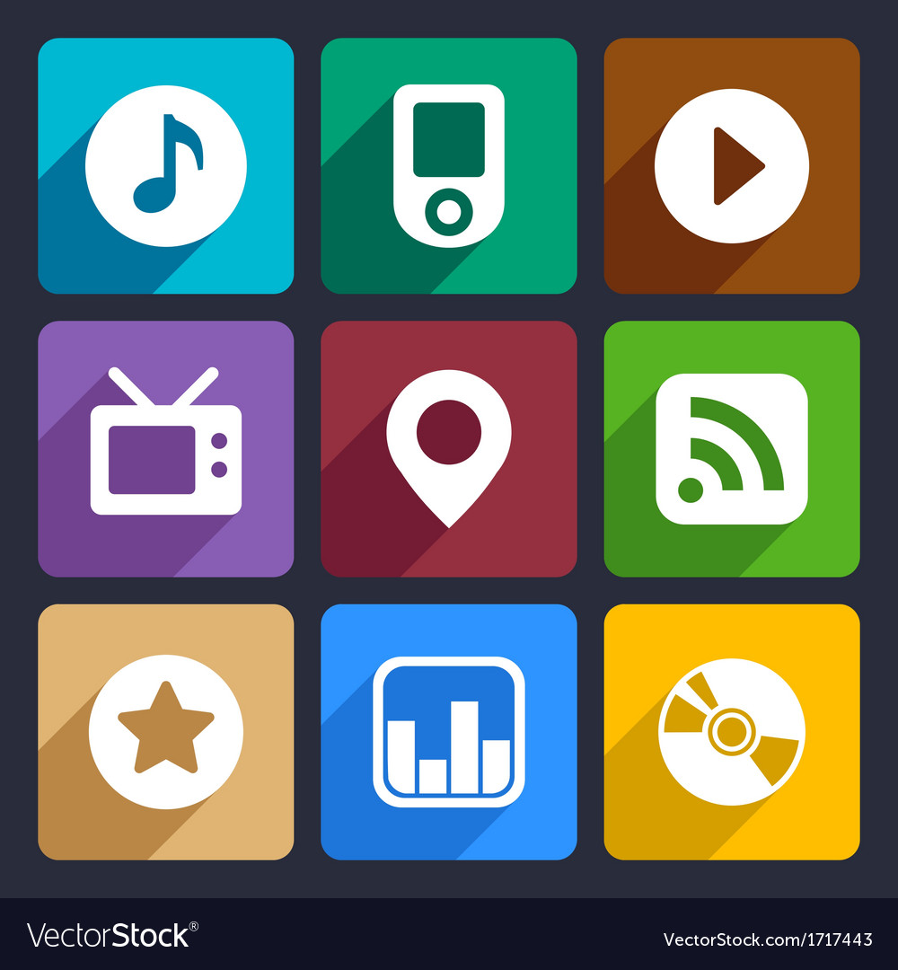 Multimedia flat icons set 1 vector | Price: 1 Credit (USD $1)