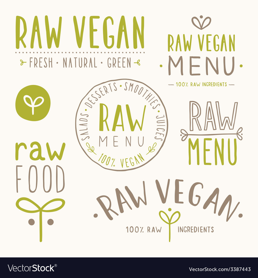 Raw vegan badges vector | Price: 1 Credit (USD $1)