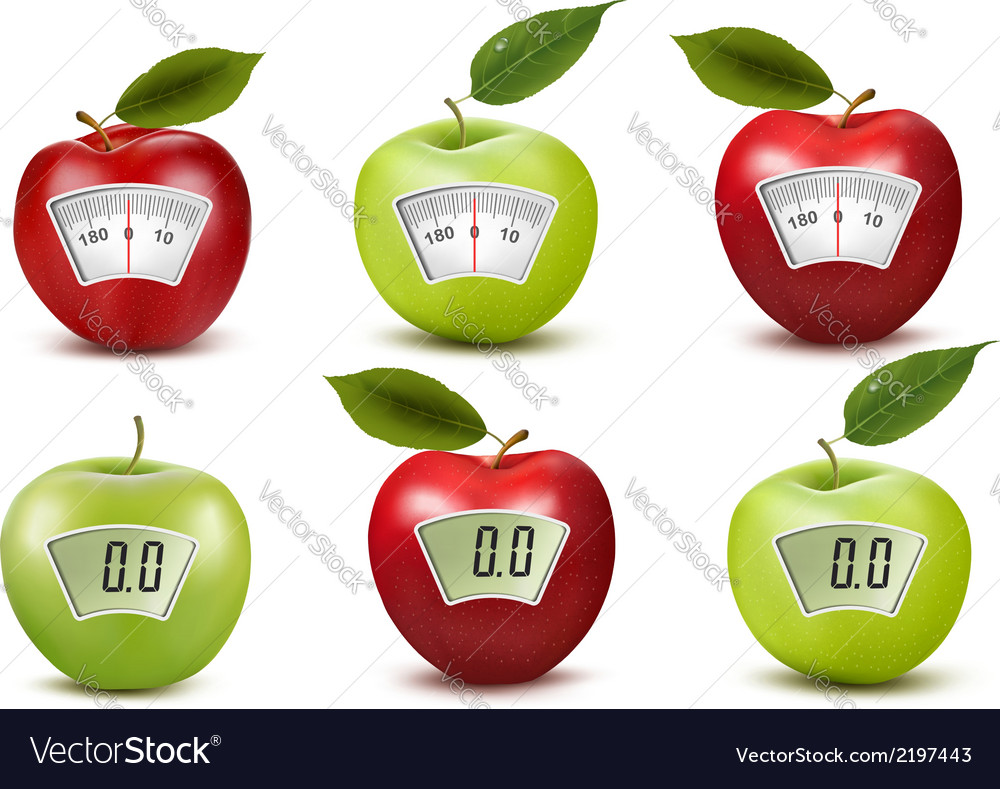 Set of apples with weight scales diet concept vector | Price: 1 Credit (USD $1)