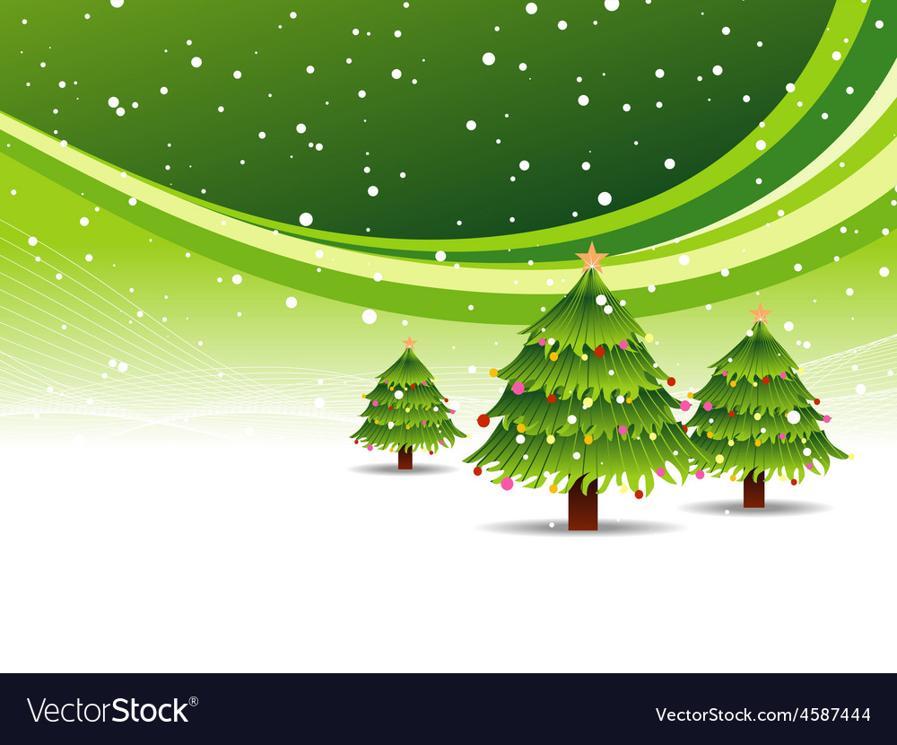 Christmas tree in snowy green background vector | Price: 1 Credit (USD $1)