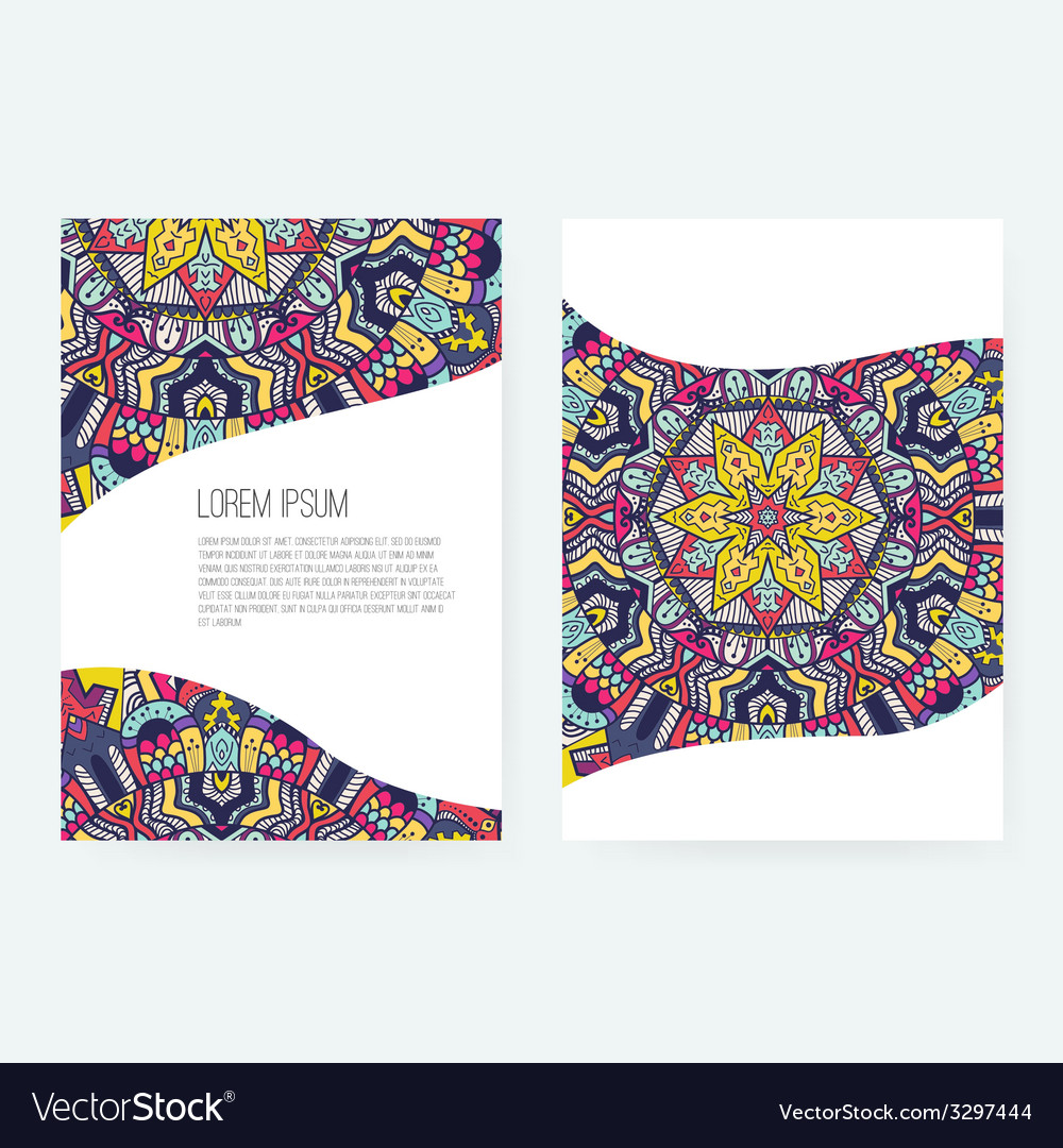 Greeting card ornamental set vector | Price: 1 Credit (USD $1)
