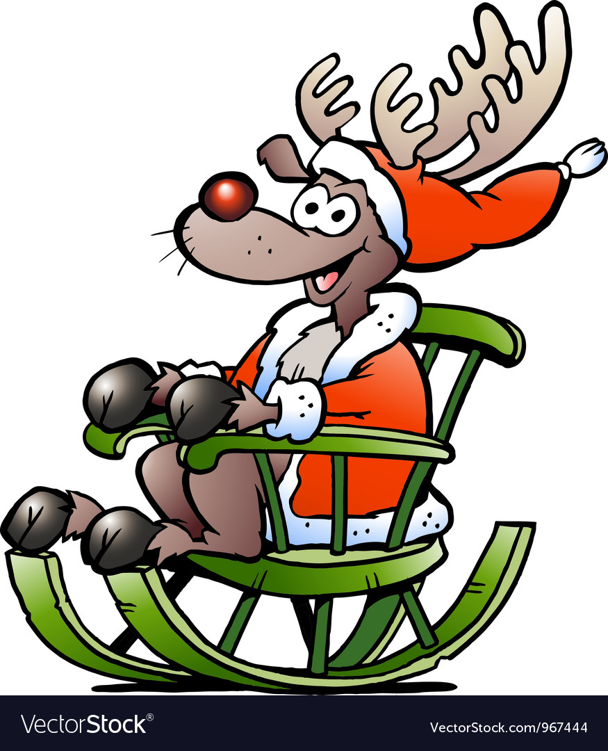 Hand-drawn of an happy reindeer vector | Price: 1 Credit (USD $1)