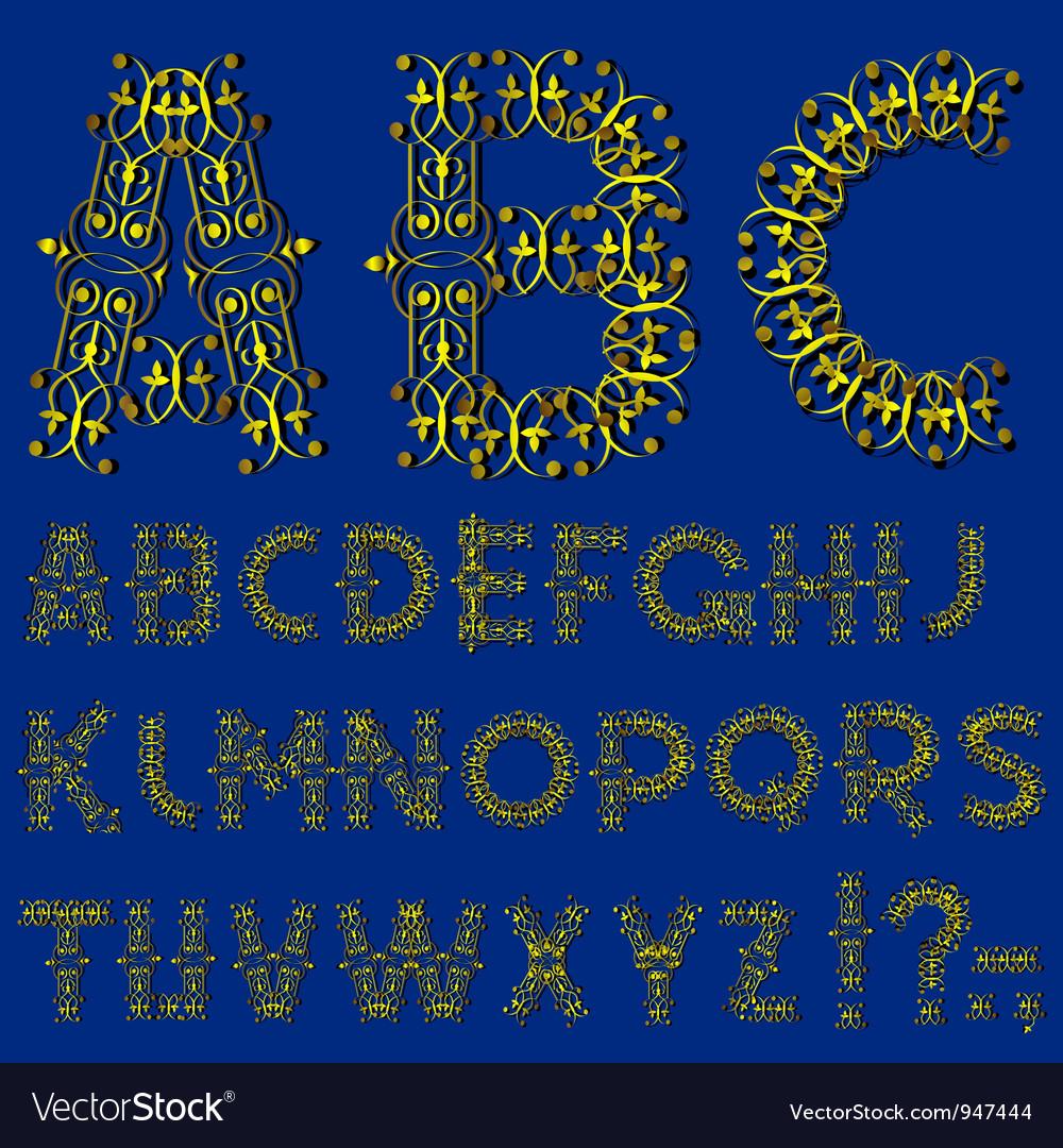 Swirly golden alphabet vector | Price: 1 Credit (USD $1)